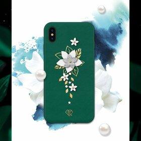Husa cu Cristale Swarovski - Kingxbar Petal Series pentru iPhone X/XS Green