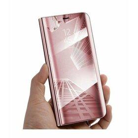 Husa Flip Mirror pentru Huawei P30 Rose Gold