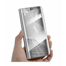 Husa Flip Mirror pentru Huawei Y6 Prime (2018) / Honor 7A Silver