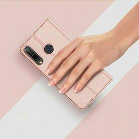 Husa flip tip Carte DUX DUCIS Skin Pro pentru Huawei P40 Lite E / Y7P Pink