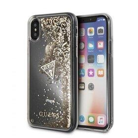 Husa Guess cu Glitter Hearts Transparenta pentru iPhone XS Max