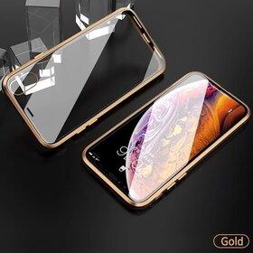 Husa iPhone SE 2 (2020) / iPhone 7/ iPhone 8 model 360 Magnetica cu Sticla fata + spate Gold