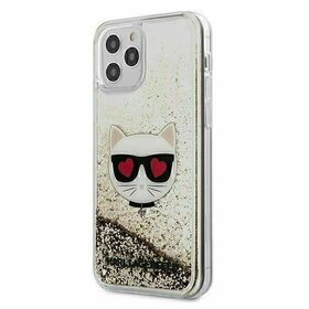 Husa Karl Lagerfeld Liquid Glitter Choupette pentru iPhone 12 Pro / iPhone 12 Gold