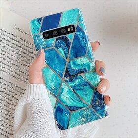 Husa marmura cu aplicatii geometrice pentru Galaxy Note 10 Pink