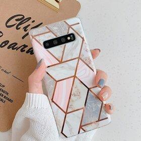 Husa marmura cu aplicatii geometrice pentru Galaxy S8 Plus Rose Gold