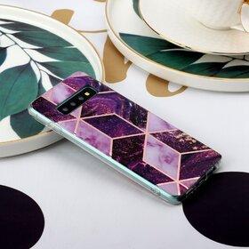 Husa marmura cu aplicatii geometrice pentru Galaxy S9 Plus Pink