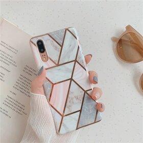 Husa marmura cu aplicatii geometrice pentru Huawei Mate 20 Pro Rose Gold