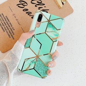 Husa marmura cu aplicatii geometrice pentru Huawei Mate 20 Pro Green Mint