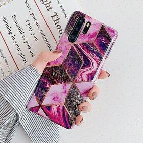 Husa marmura cu aplicatii geometrice pentru Huawei P20 Pink