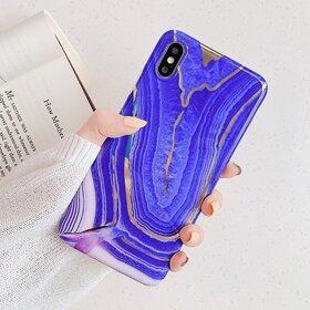 Husa marmura cu aplicatii geometrice pentru iPhone X/ XS Purple