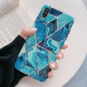 Husa marmura cu aplicatii geometrice pentru iPhone XS Max
