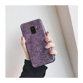 Husa protectie cu model marble pentru Galaxy S8 Purple