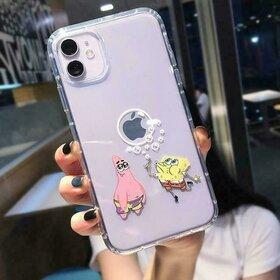 Husa Transparenta cu model SpongeBob and Patrick pentru iPhone X/XS