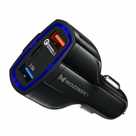 Incarcator auto universal Wozinsky cu 2 x USB + USB Tip C si functie de incarcare rapida QC3.0 Black