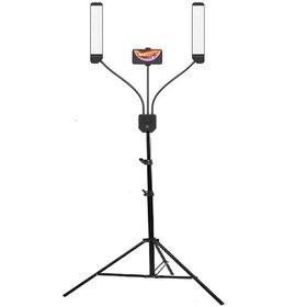 Lampa de iluminare studio cu 2 brate ajustabile si suport pentru telefon