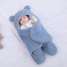 Paturica in forma de ursulet pentru infasat bebelusi Light Blue