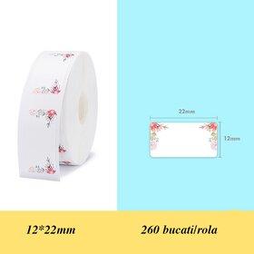 Rola de etichete cu flori pentru imprimanta termica wireless