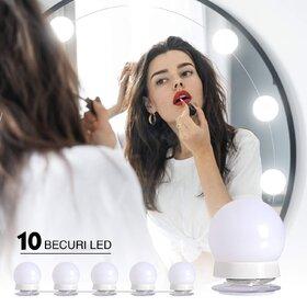 Set 10 becuri LED pentru oglinda make-up cu lungime cablu de 4.8 metri