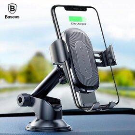 Suport auto Baseus cu incarcare wireless, prindere prin ventuza si brat lung