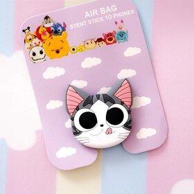 Suport stand adeziv pentru telefon model desen animat sub forma de Pisica