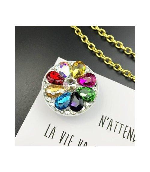 Suport stand adeziv pentru telefon model floare din pietre multicolore