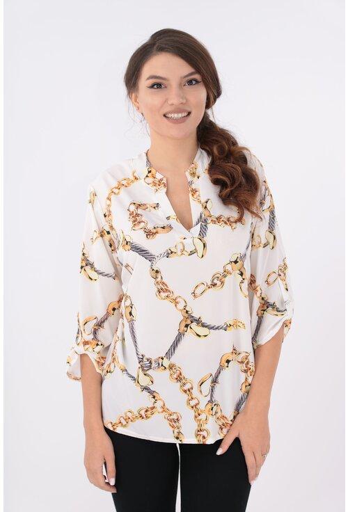 Bluza alba cu desen auriu si guler tunica
