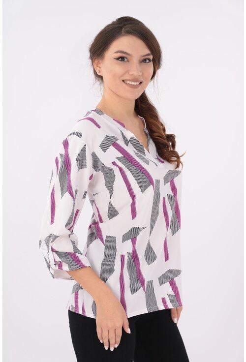 Bluza alba cu desen bordo si guler tunica
