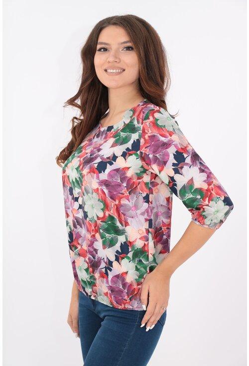 Bluza alba cu desen floral multicolor
