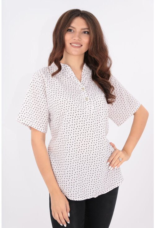 Bluza alba cu imprimeu discret negru