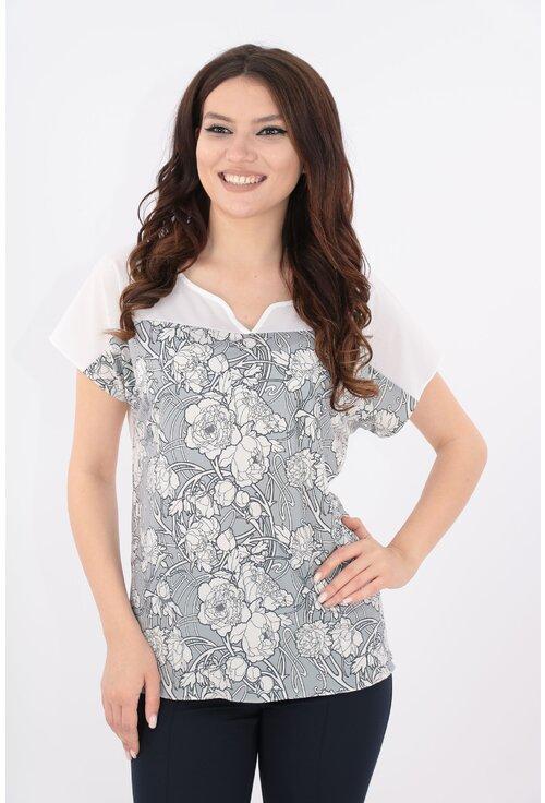 Bluza alba cu print gri floral