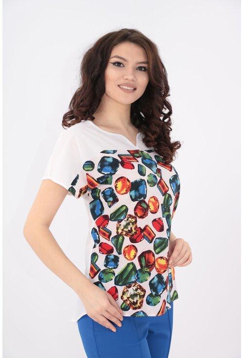 Bluza alba cu print multicolor
