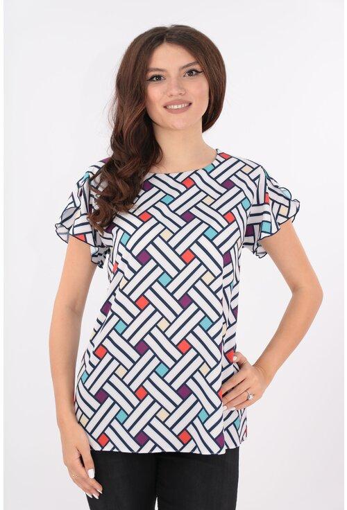 Bluza alba cu romburi multicolore