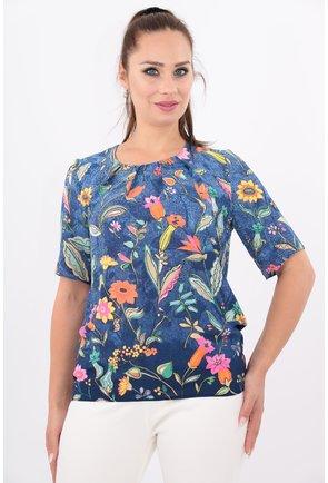 Bluza albastra cu imprimeu floral multicolor