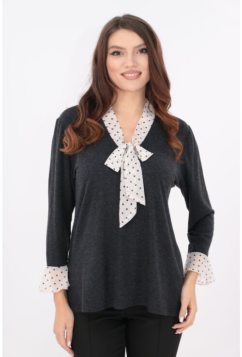 Bluza antracit cu esarfa si volane din voal imprimat
