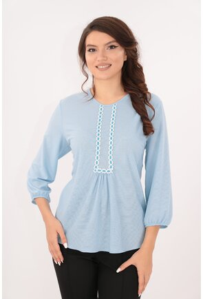 Bluza bleu cu broderie alba din bumbac