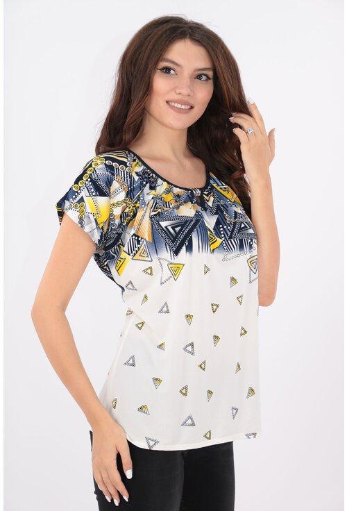 Bluza bleumarin-alb cu print abstract galben
