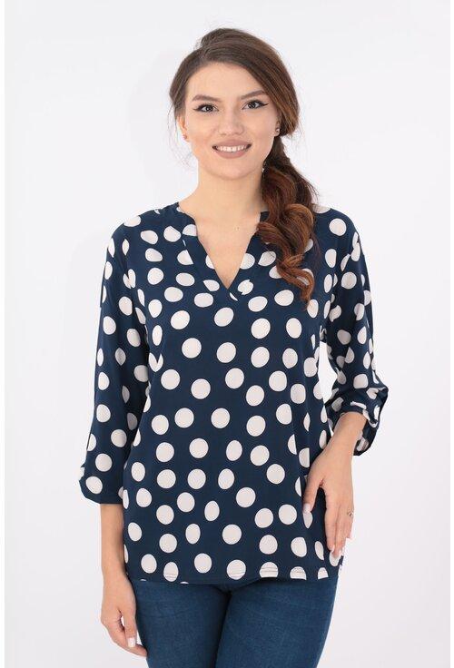 Bluza bleumarin cu buline maxi si guler tunica