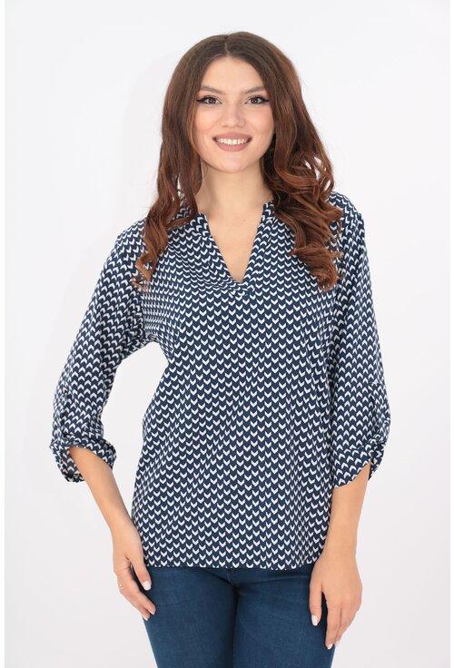 Bluza bleumarin cu desen alb si guler tunica