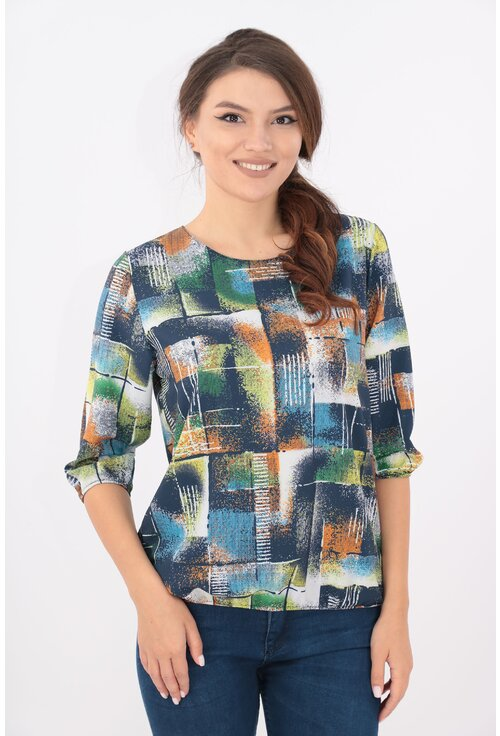 Bluza bleumarin cu desen geometric multicolor