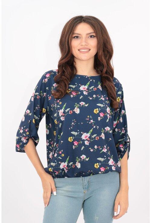 Bluza bleumarin cu flori albe-ciclamen