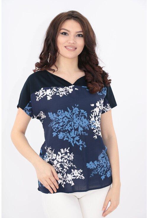 Bluza bleumarin cu flori albe