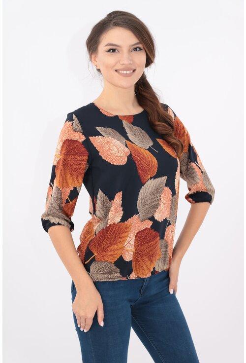 Bluza bleumarin cu frunze ruginii