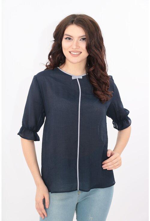 Bluza bleumarin cu garnitura alba