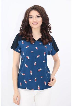 Bluza bleumarin cu imprimeu abstract