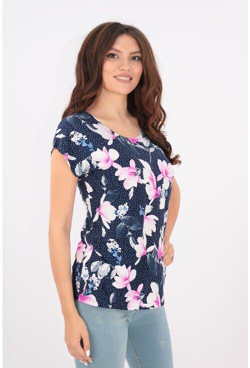Bluza bleumarin cu magnolii roz