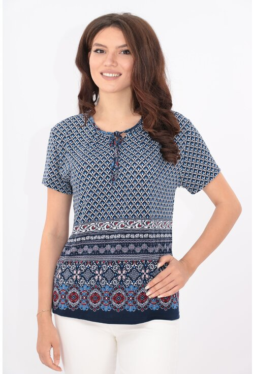 Bluza bleumarin cu print abstract bleu si bordura