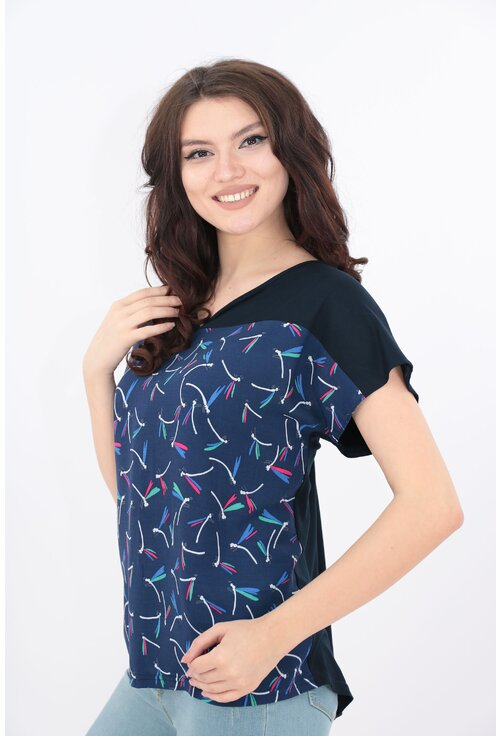 Bluza bleumarin cu print abstract multicolor