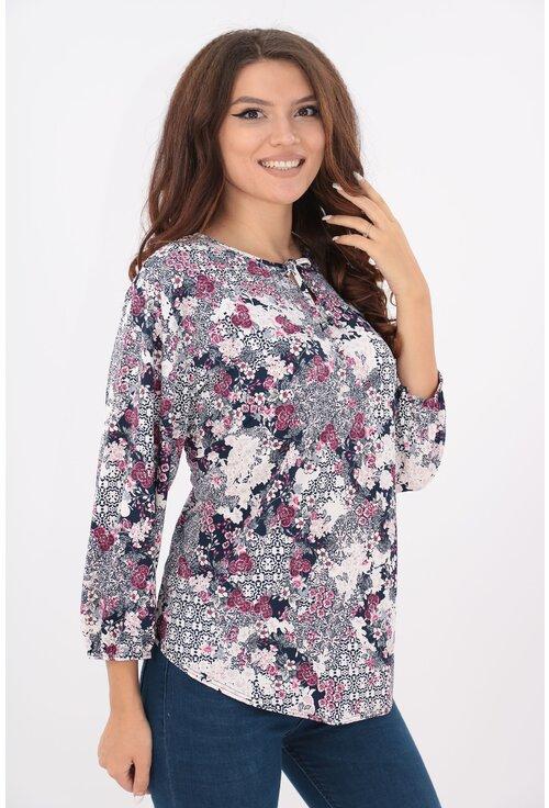 Bluza bleumarin cu print floral alb-roz