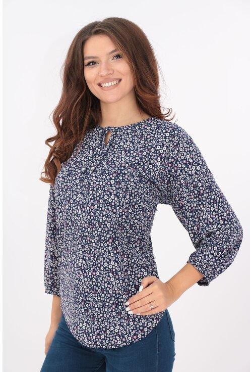 Bluza bleumarin cu print floral lila