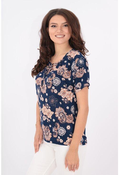 Bluza bleumarin cu print floral roz-piersica